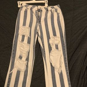 Pacsun high waisted mom jeans striped